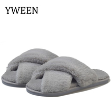 купить YWEEN Winter Women Home Slippers with Faux Fur Fashion Warm Shoes Woman Slip on Flats Female Slides Black Pink Plus Size 41 по цене 452.73 рублей