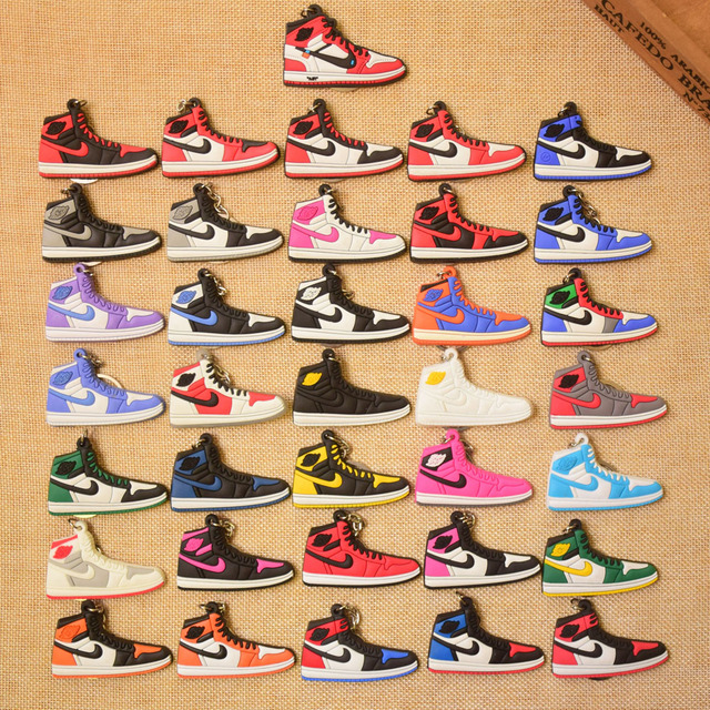 564e49d4b24012 New Color Mini Silicone Jordan 1 Keychain Woman Bag Charm Men Kids Key Ring  Gifts Sneaker Accessories Shoes Key Chain
