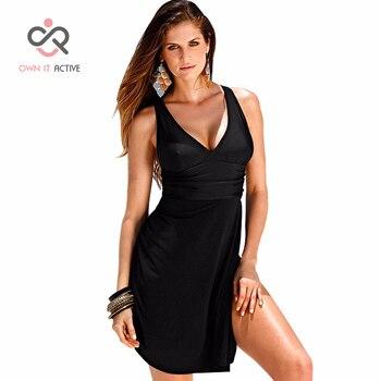 6XL Plus Size Swimwear One Piece Swimsuit Women Summer Beach Wear Vintage Retro High Waist Bathing Suit Plus Dress Black Y007 1