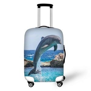 Чехол для чемодана с принтом океанского дельфина, защитный чехол для костюма 18-30 дюймов, эластичный пылезащитный чехол для багажа, растягив...