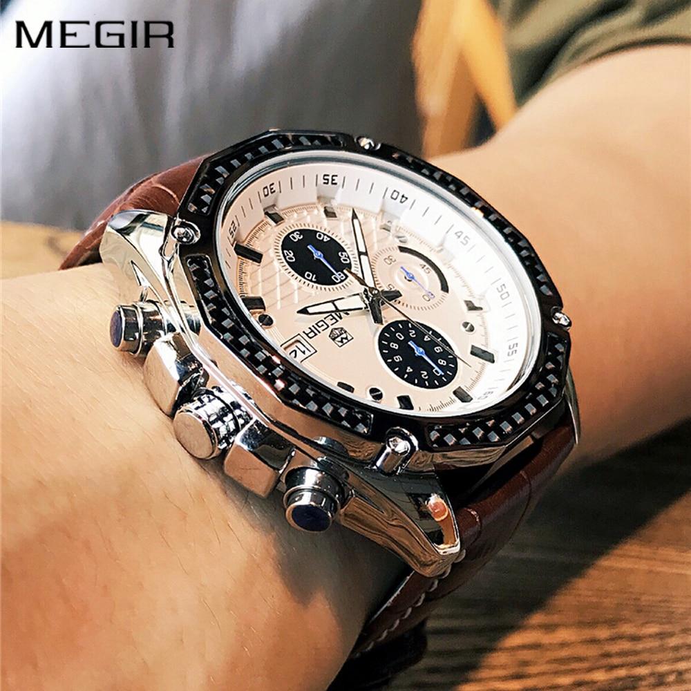 Autentyczne męskie zegarki kwarcowe MEGIR zegarki z prawdziwej - Męskie zegarki - Zdjęcie 5