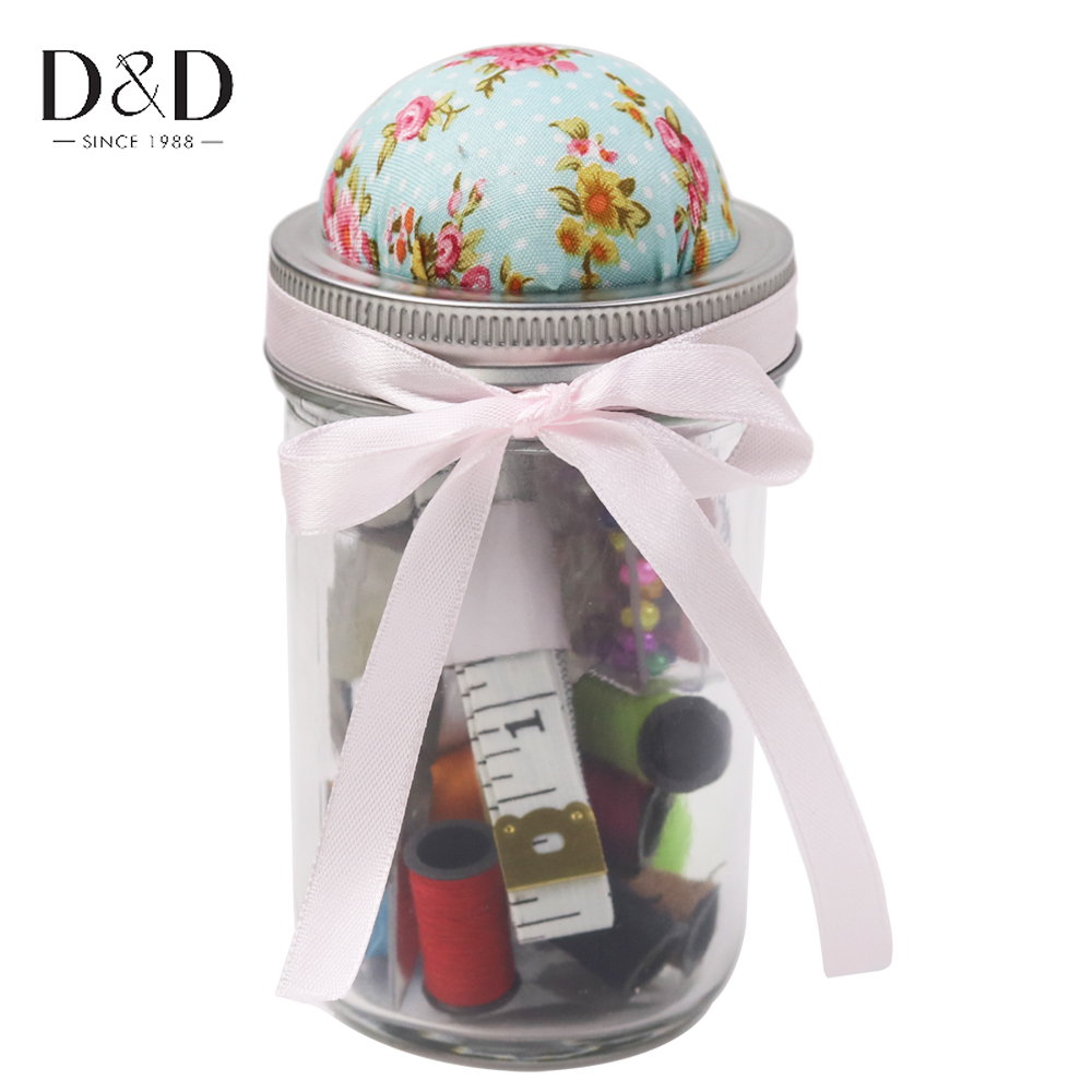 D&D 18Pcs Embroidery Sewing Kits Packed in Fabric Covered Pin Cushion Bottle for Home Travel Great Gift