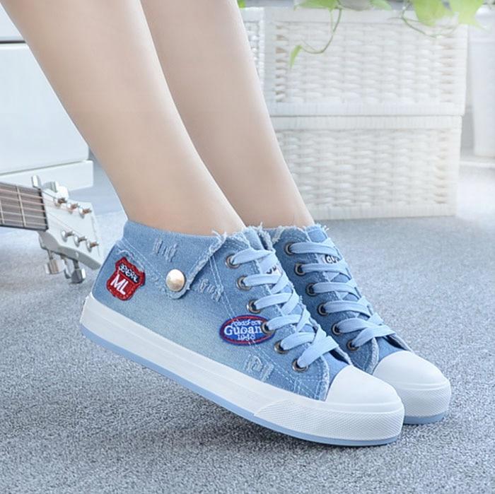 azul Cielo Otoño Azul Denim Las La up Primavera Manera Mujer Zapatos Lona Planos Casual 2017 Top Lace De Mujeres pTqRxgUw