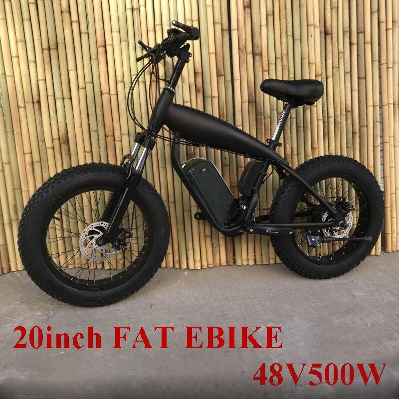 Personalizado 20 polegada pneu gordo ebike 500 w 48 v li-ion neve elétrica mountain bike freio a disco hidráulico duplo bateria de lítio