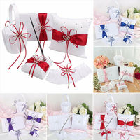 5pcs/Set Wedding Decoration Accessories Double Heart Satin Flower Basket + Guest Book Pen Set + Ring Pillow + Garter Set
