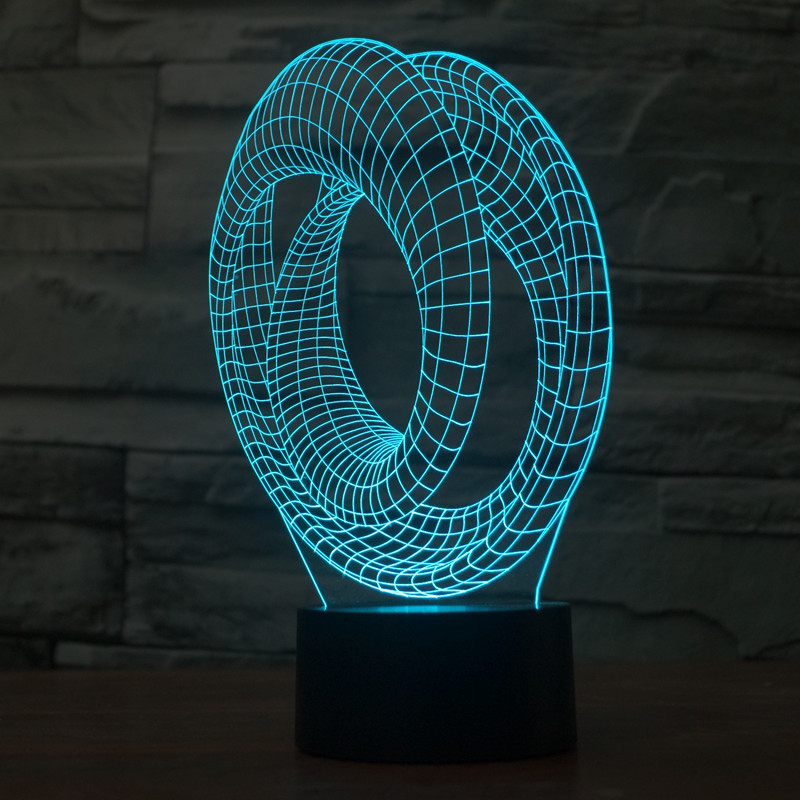 ᗖ3D Atmosph¨re lampe 7 Changement de Couleur illusion Visuelle LED