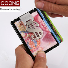 QOONG RFID Travel Card Wallet Men Business ID Credit Holder Women Fashion Brand Metal Aluminum Case with Bill Clip