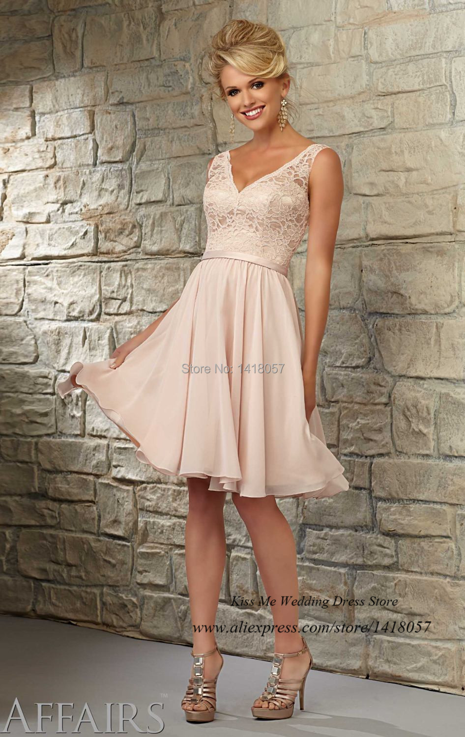 Aliexpress.com : Buy Modest Light Pink Lace Bridesmaid Dress for ...