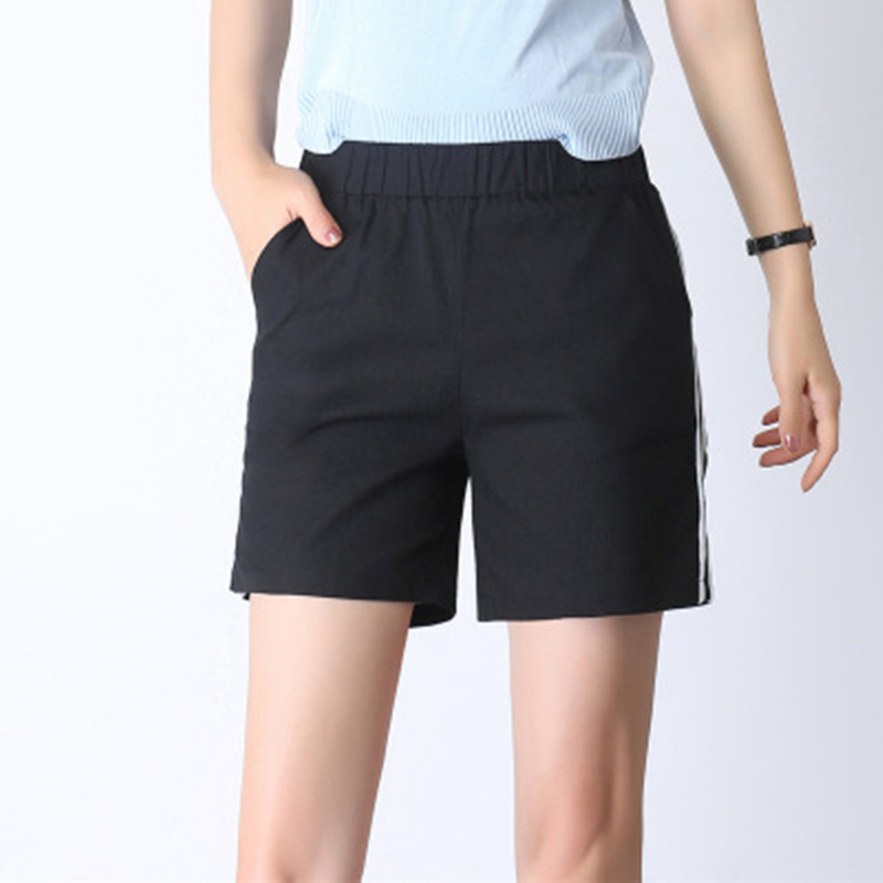 a5bfd282ee CUHAKCI Causal Summer Shorts Women Multicolors Ladies Cotton Shorts Black  Soft Elastic Skinny Striped Shorts Plus Size S-4XL