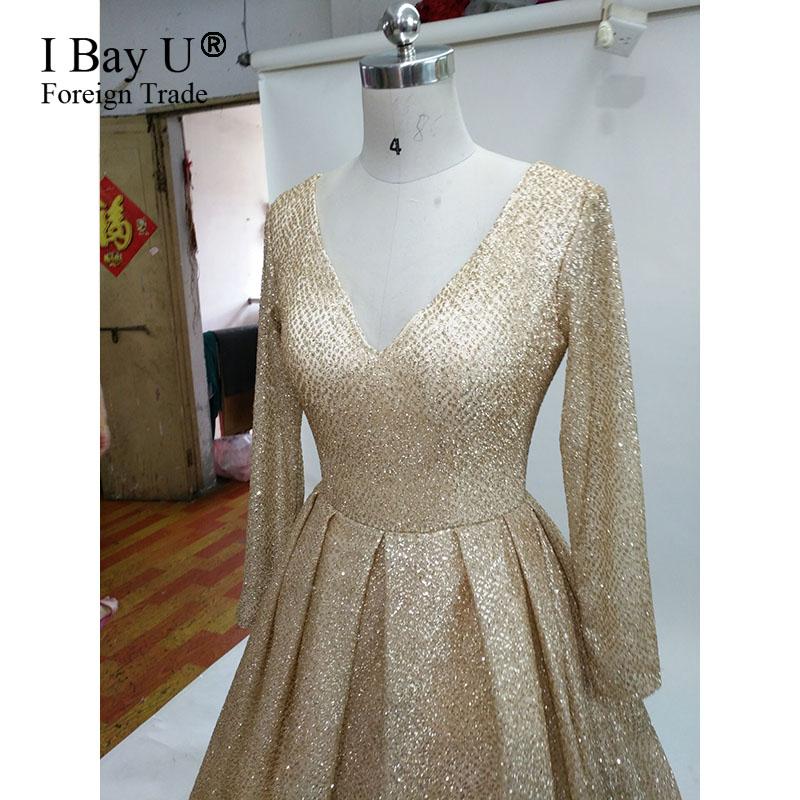 R101666 Glitter Tecido De Renda Brilhante Vestidos De Noite 2017 Nova Chegada Sparkly Dourado Longo Elegante árabe Menina Festa Vestido In Vestidos