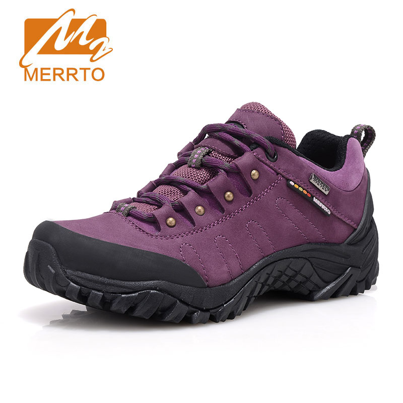 MERRTO Woman Tactical Hiking Shoes Anti-slip Waterproof Cowhide Leather Sports Camping Shoes Breathable Mountain Outdoor Shoes