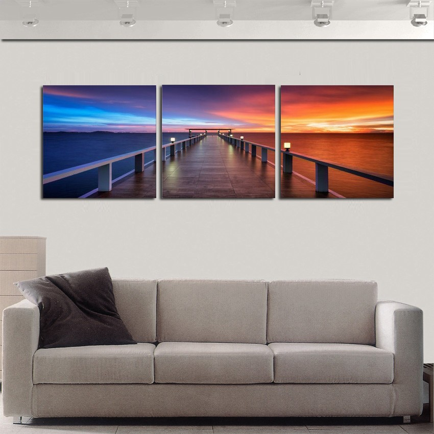 Painting 3 Panel Piece Modern Pictures Bedroom Living ...