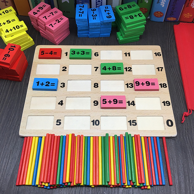 Wooden Add and Subtract Math Toy Set for Kids