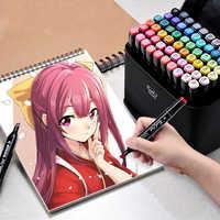 Marcadores 24/30/40/60/80 marcadores de arte en Color Promarker Set de doble cabezal para dibujar marcadores basados en Alcohol aceitoso para Manga de animación