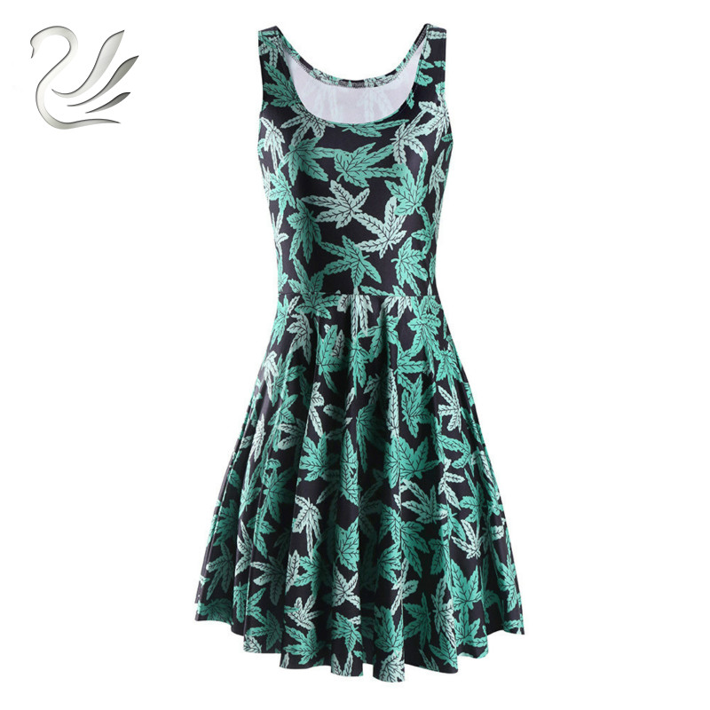 d4ad9c76127ea New Summer Vestido HARLEY QUINN Print Dresses Sexy Siamese Pleated Dress  Woman Sleeveless Reversible Skater Dress