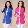 Plus Size XXXL doces cor Blazer fino feminino Outerwear 2016 primavera e outono jaqueta de médio longo