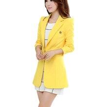 Высокое качество Женские блейзеры и куртки весна осень повседневные длинные женские облегающие костюмы одноцветные женские куртки размера плюс