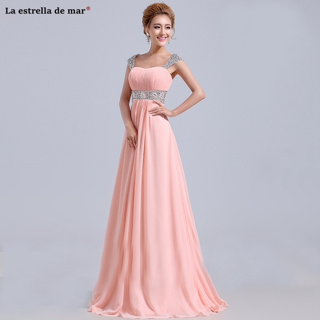 8d098d8afba Robe rose pour mariage new chiffon crystal cap sleeve back A line blue  purple red wedding guest dress long vestido madrinha