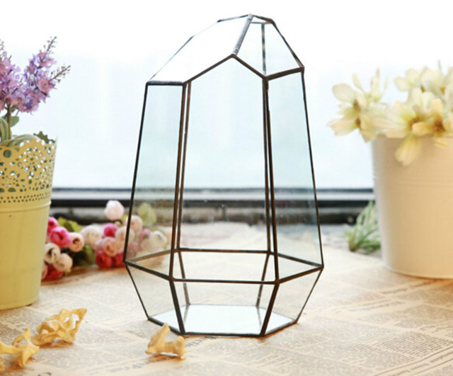 Home Decorative Exhibition Frame Art Flower Pot Planters Metal Glass Pots  Desktop Decoration Irregular Geometric Vases