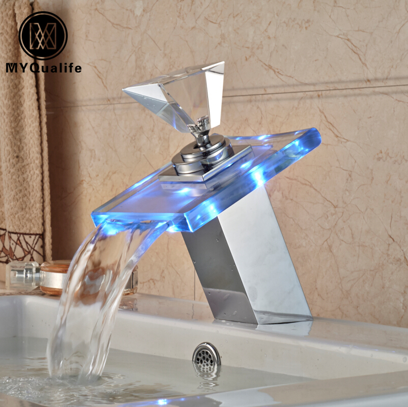 Free Shipping LED Light Glass Waterfall Basin vessel Sink Faucet Bathroom Brass Mixer Taps Chrome Finish One Handle
