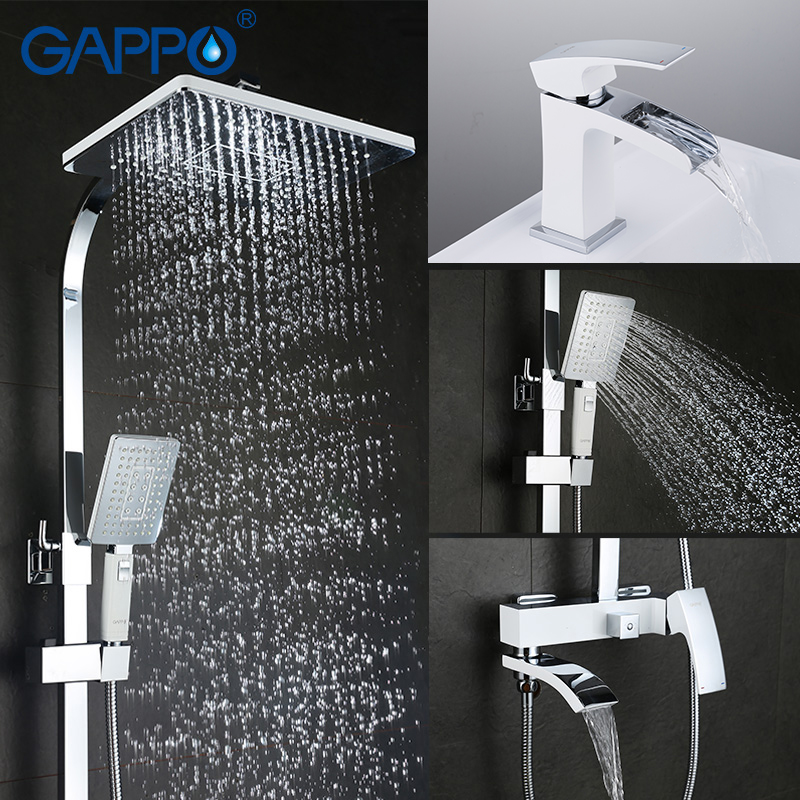 GAPPO Sanitary Ware Suite chrome and white bath faucet mixers shower set with basin faucet brass bathroom shower set torneira