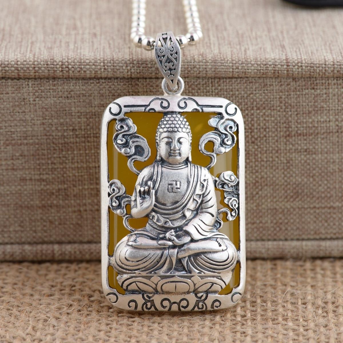 925 argent cerf roi bijoux zodiaque natal bouddha pendentif calcédoine cadeau en gros.