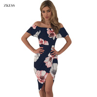 Zkess Boho Style Beach Summer Dress Women Floral Print Ruffle Off Shoulder Wrap High Low Dresses