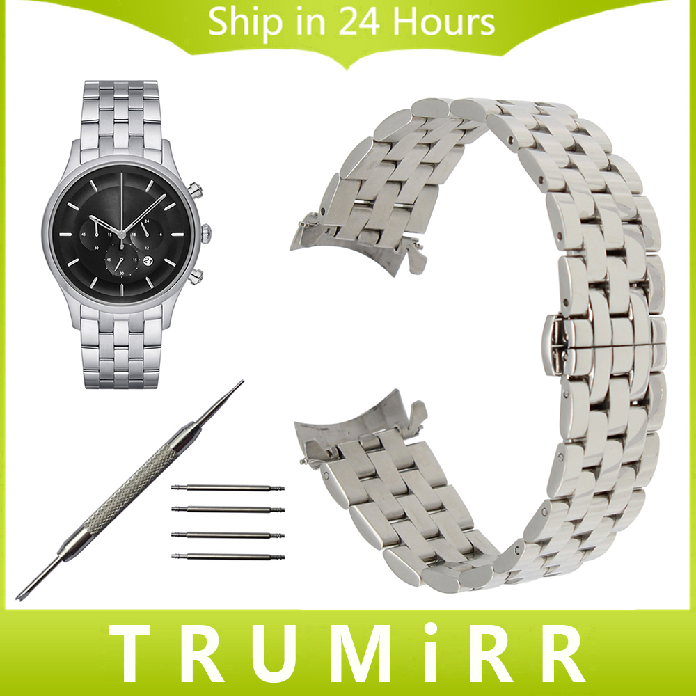 Stainless Steel Watchband Curved Strap for Armani Parnis Men Women Watch Band Butterfly Clasp Wrist Bracelet 18mm 20mm 22mm 24mm curved end stainless steel watchband for rado men women watch band wrist strap butterfly clasp belt bracelet 18mm 20mm 22mm 24mm