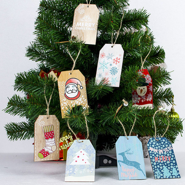 1pcs christmas tree decorations hanging ornament pendant wooden craft hanging plaque tags for christmas party favors