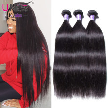 UNice Hair Kysiss Series Straight Peruvian Hair Weave 3 Bundles 8-30 inch Peruvian Virgin Hair Bundle Human Hair Weave(China)