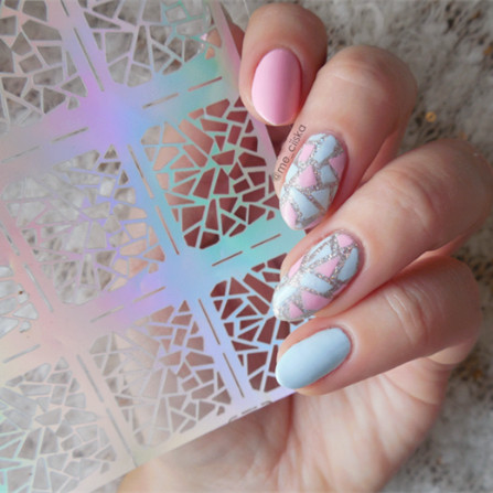 12 Tips/Sheet Irregular Triangle Pattern Nail Vinyls Nail Art Manicure Stencil Stickers JV206 # 23528 3 designs in 1 sheet laser vinyls nail hollow sticker gold grid irregular patterns tips tool for nail art stencil manicure sa350