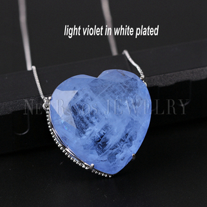 Image 4 - Newranos Pedra Fusion Stone Heart Necklace 10 Colors Birthstone Pendant Necklaces Crystal Long Chain Necklaces Party Jewelry