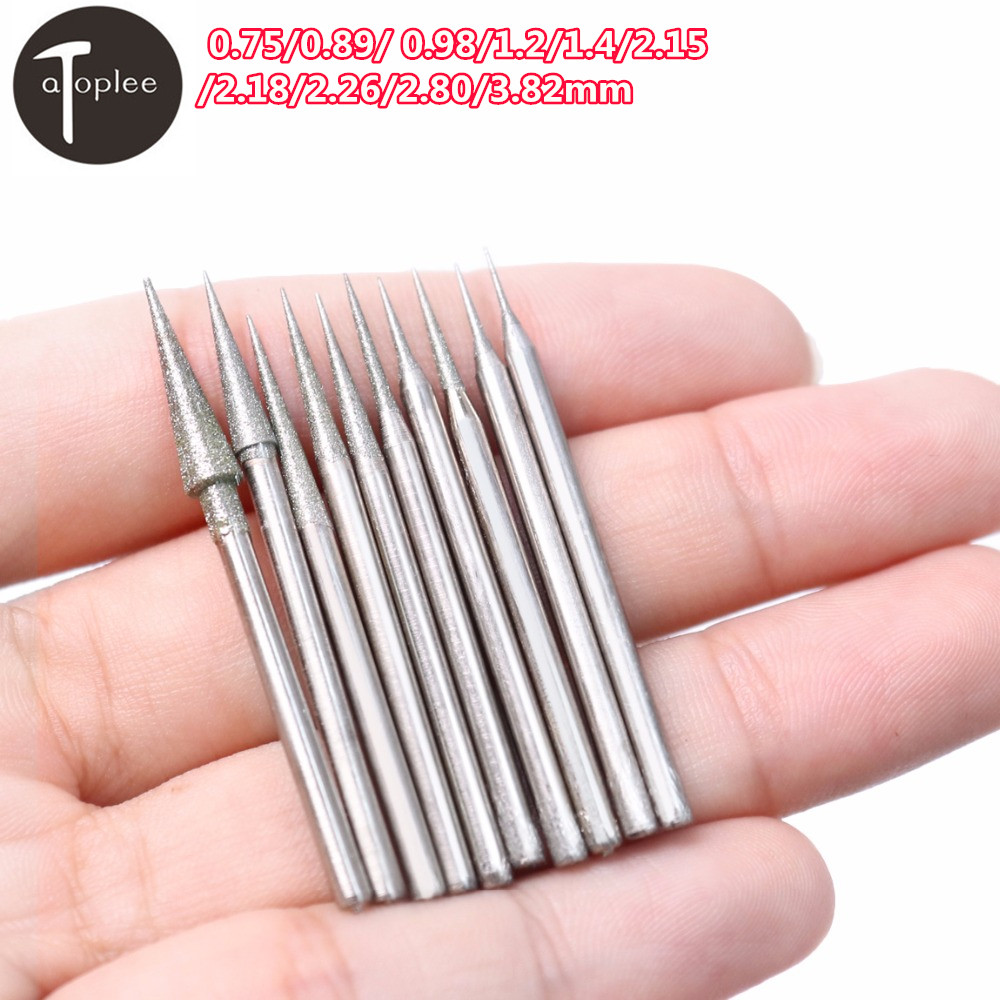 10Pcs 0.75mm-3.82mm Diamond Grinding Head 2.35mm Shank Grinding Needle Bits Burrs For Metal Stone Jade Engraving Carving Tools