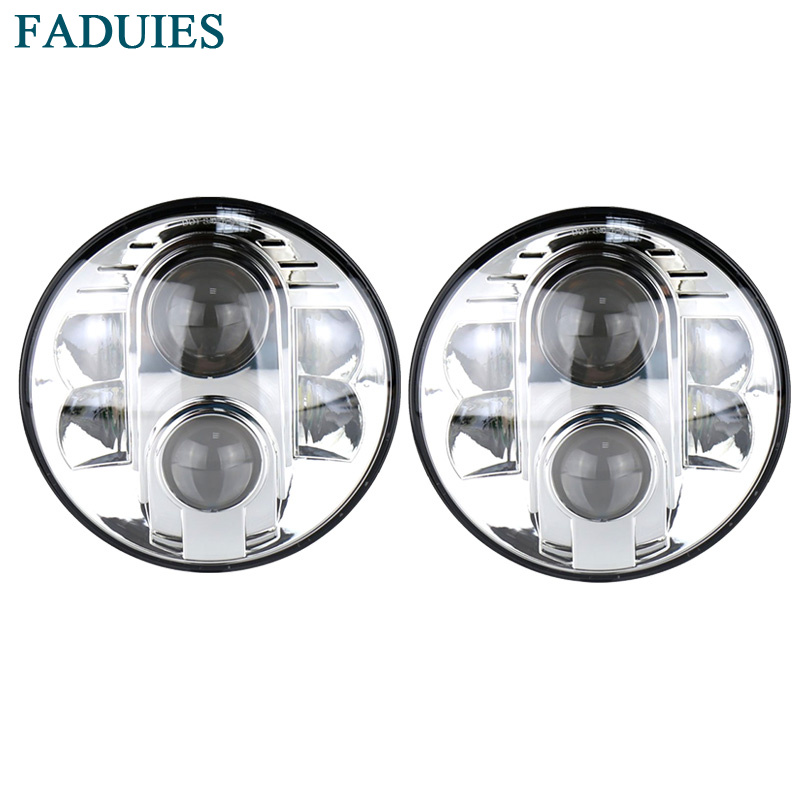 FADUIES Chrome 1Pair 80W 7 Inch Round Projector LED Headlights White DRL Half Halo for Jeep Jk Tj Lj Hummer H1 H2 DOT Aproved 7 inch 80w round led headlights high