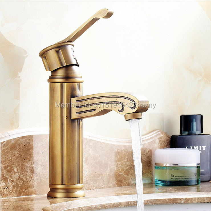 Free Shipping Cheap New Promotional Single Handle Bathroom Faucet Antique  Brass Basin Mixer Tap GI46(