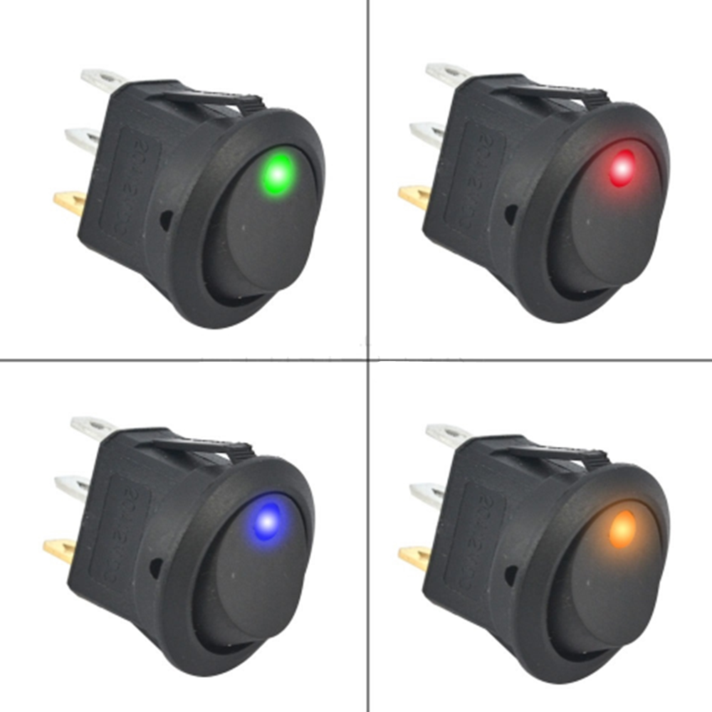 Pinos ON-OFF Rocker Switch SPST Switch 3 12 v led rocker switch Led Dot Luz LED iluminado Car barco de Alternância Dashboard