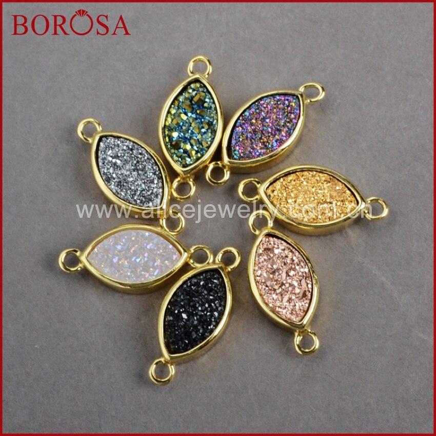 BOROSA Marquise Druzy Crystal Geode Druzy Pendants Gold Color Titanium Druzy Double Bails Pendant Connector ZG020