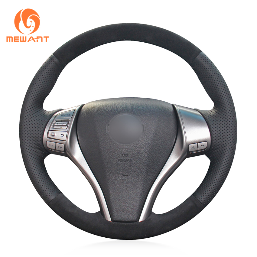 MEWANT Black Genuine Leather Wrap Car Steering Wheel Cover for Nissan Teana 2013 2018 Altima 2013