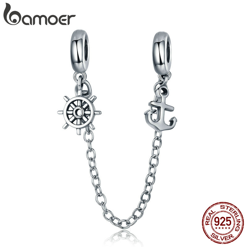 цена BAMOER New Arrival 925 Sterling Silver Voyage Anchor & Rudder Safety Chain Stopper Charm fit Bracelet Bangles Jewelry SCC604