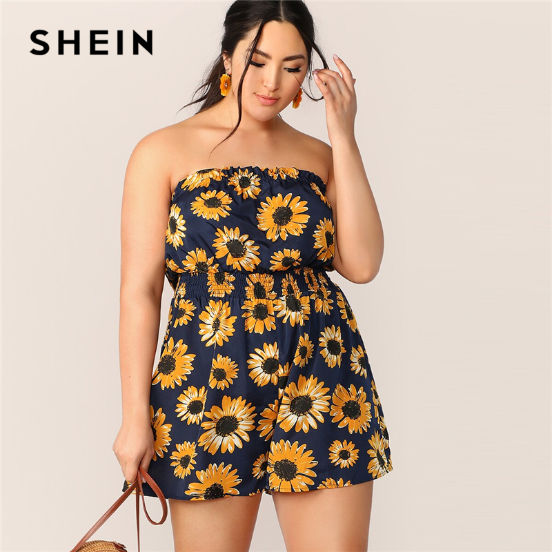 SHEIN Plus Sunflower Print Shirred Waist Tube Romper 2019 Boho Summer Frill Playsuit Sleeveless Strapless Jumpsuits
