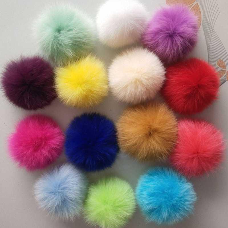 11 cm Natureza Genuine Fox Fur Bola Pom Pom Chapéu Skullies Gorros de Inverno Tampão Feito Malha Pompons Fofo DIY F009-pink