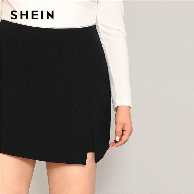 SHEIN Black Casual Split Detail Women Plus Size Shorts Skirts 2019 Summer Zipper Back Mid Waist Shorts 4