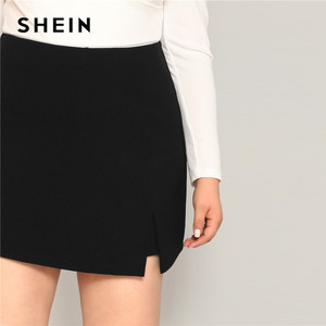Image 5 - SHEIN Black Casual Split Detail Women Plus Size Shorts Skirts 2019 Summer Zipper Back Mid Waist Shorts