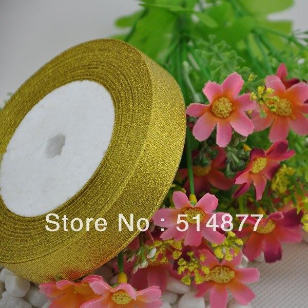 √20 mm Gold Metallic Glitter ribbon craft/wedding 25Y 1 Rolls - a336
