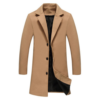 XMY3DWX  Winter New Fashion Men Solid Color Single Breasted Trench Coat / Men Casual Slim Long Woolen Cloth Coat Large Size 5XL