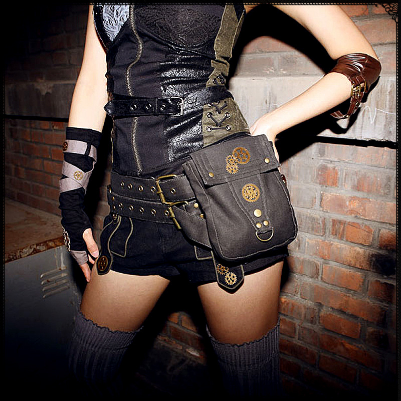 Steampunk Pocket Stylish Men Women Canvas Rivet Waist Bags Cosplay Fashion Cell Phone Belt Bag Cool Metal Gear Motorcycle Bag