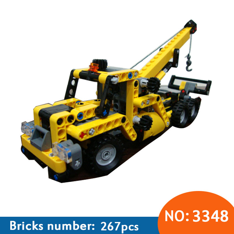 3348 & 3349 High TTECHNIC MINI MOBILE CRANE TOW TRUCK VEHICLE Model building block bricks toys for Children gifts DIY 2016 diy decool 3348