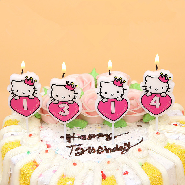 1pc Number Cake Candles Cute Cat Cartoon Kids Birthday Cake Cupcake