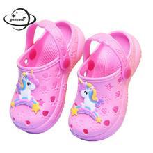 Детские сандалии и сабо; Летние сандалии для мальчиков и девочек; однотонные тапочки на Плоском Каблуке; детская садовая обувь; y17