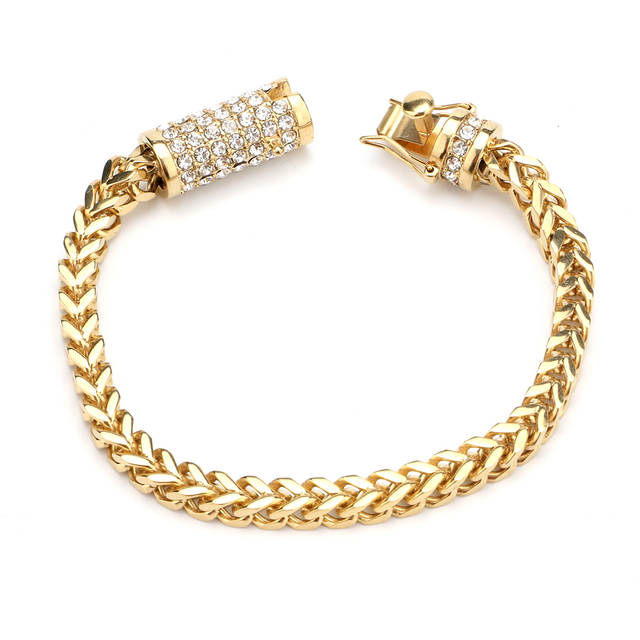 8451b576d419c Men's Stainless Steel Gold Bracelet Iced Out Miami Cuban Link Bracelet  Bling Hip Hop Jewelry For Men With Crystal Box Clasp -in Chain & Link  Bracelets from ...